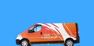Free Modern Traffic Van Mockup PSD Template1