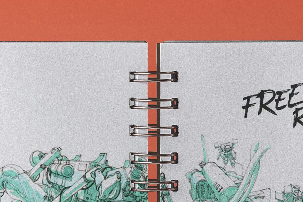 Free Open Ringed Sketchbook Mockup PSD Template2
