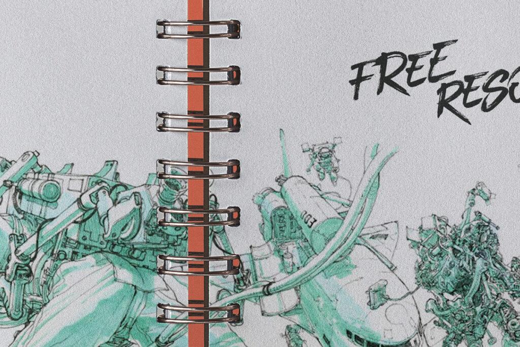 Free Open Ringed Sketchbook Mockup PSD Template5