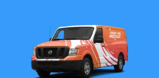 Free Photorealistic Cargo Van Mockup PSD Template1