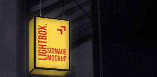 Free Photorealistic Hanging Lightbox Signage Mockup PSD Template1