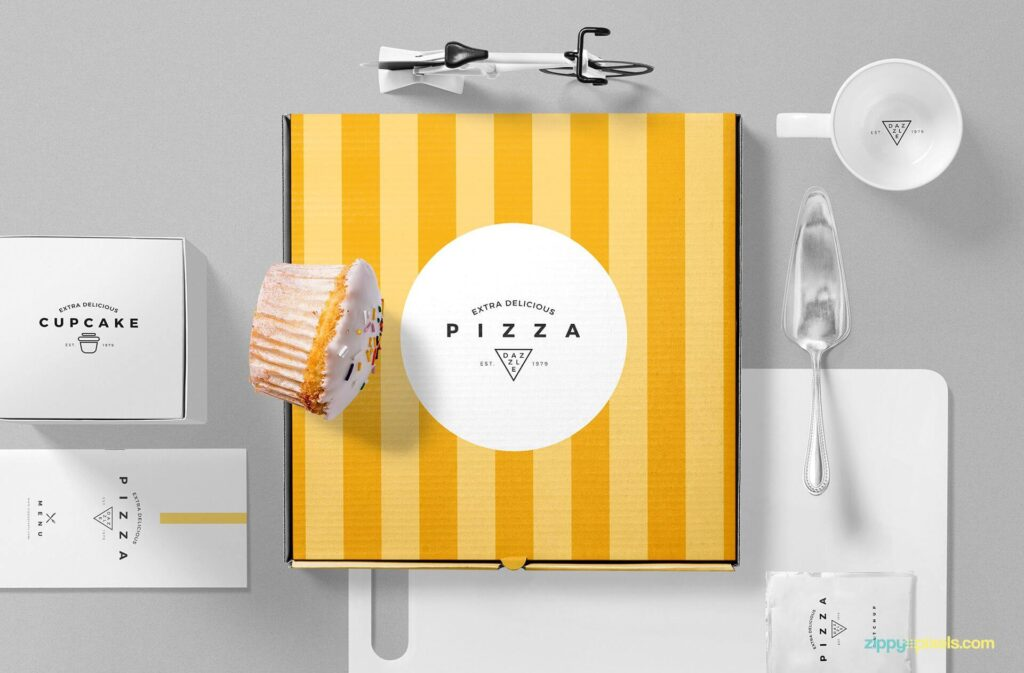 Free Pizza Packaging Mockup Scene PSD Template1
