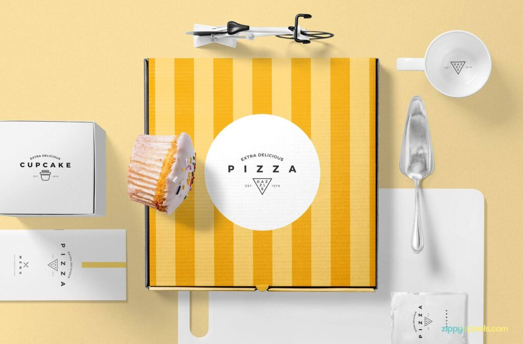 Free Pizza Packaging Mockup Scene PSD Template2