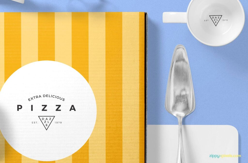 Free Pizza Packaging Mockup Scene PSD Template4
