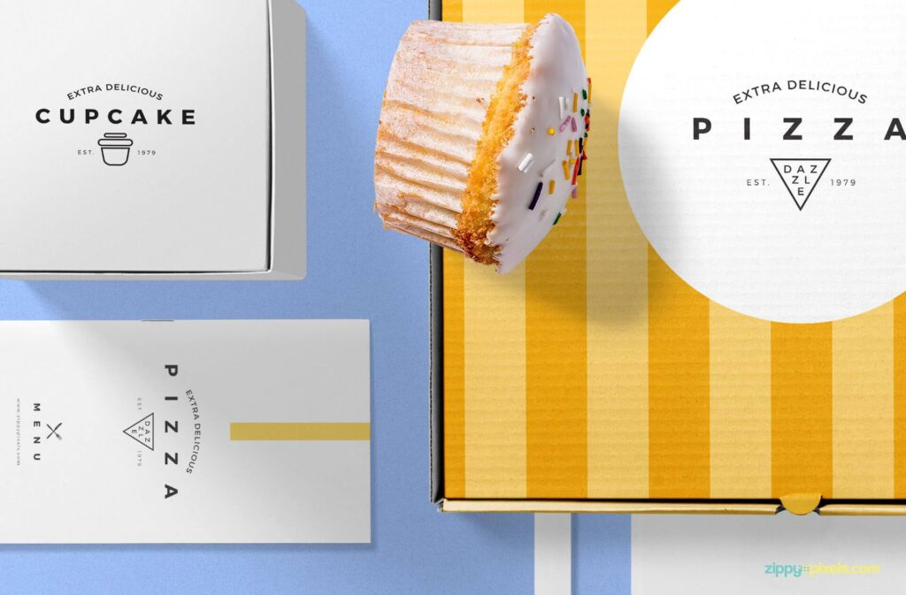 Free Pizza Packaging Mockup Scene PSD Template5
