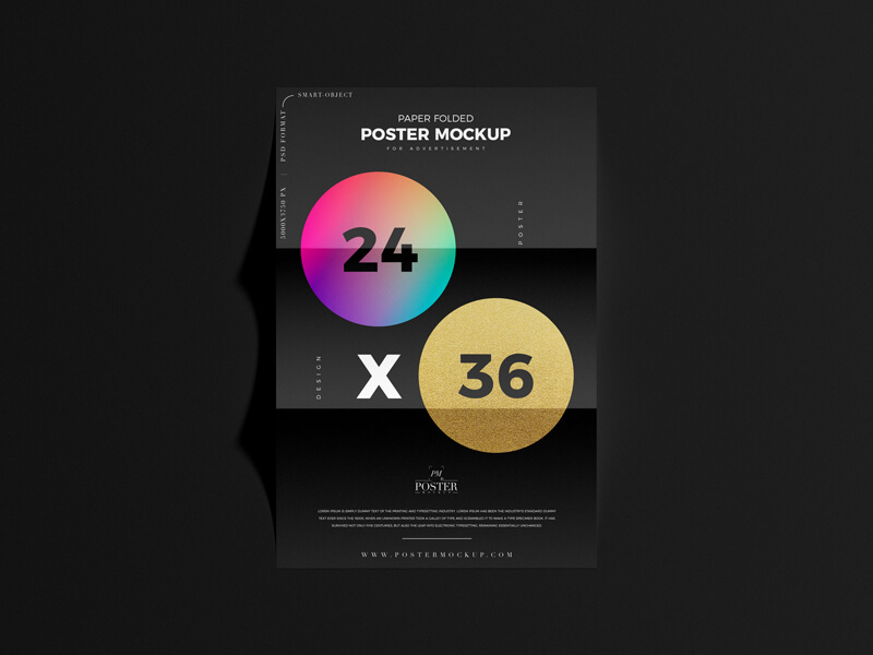 Free Paper Folded 24×36 Poster Mockup PSD template