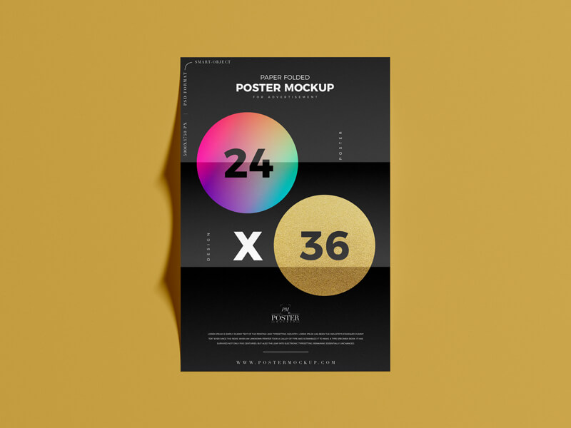 Free Poster Mockup Paper Folded 24×36 Poster Mockup PSD Template2