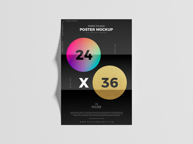 Free Poster Mockup Paper Folded 24×36 Poster Mockup PSD Template3