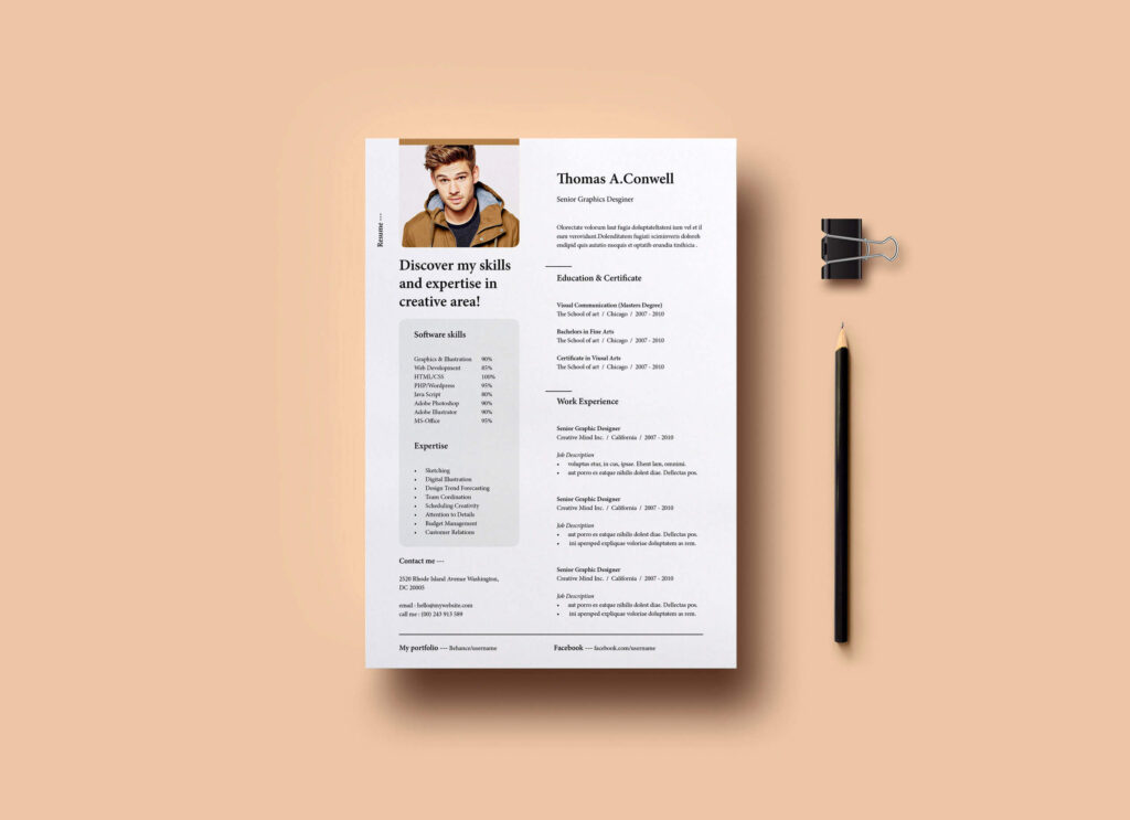Free Presentable Resume Mockup PSD Template Vol-08 1