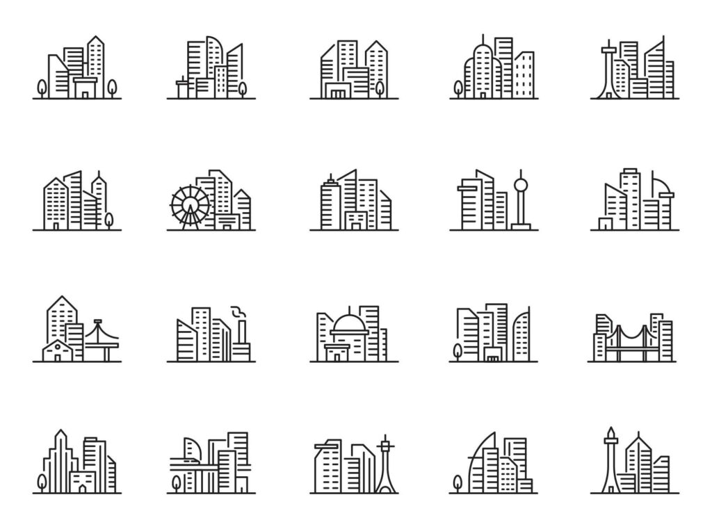 Free Realistic 20 Cityscape Vector Icons: