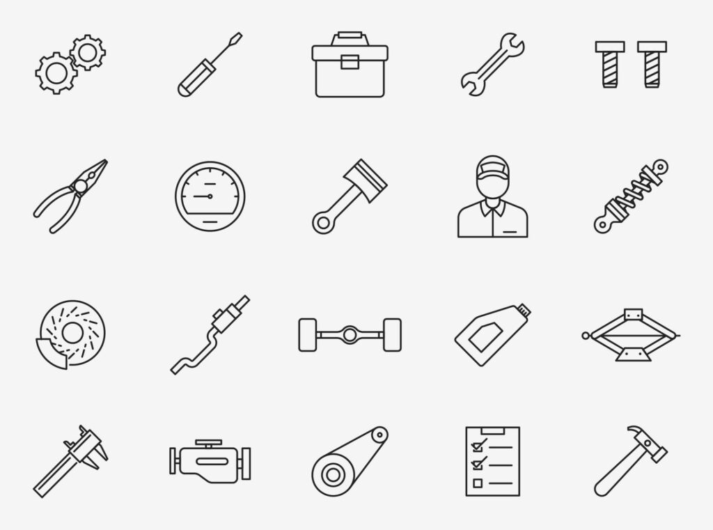Free Realistic 20+ Mechanic Vector Icons