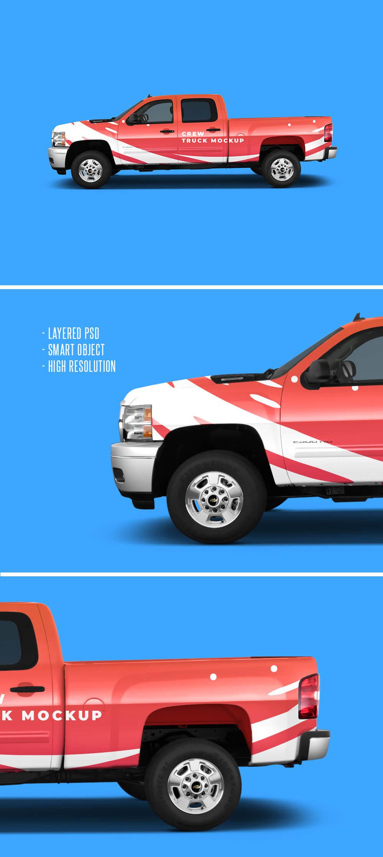 Free Realistic Crew Truck Mockup PSD Template2