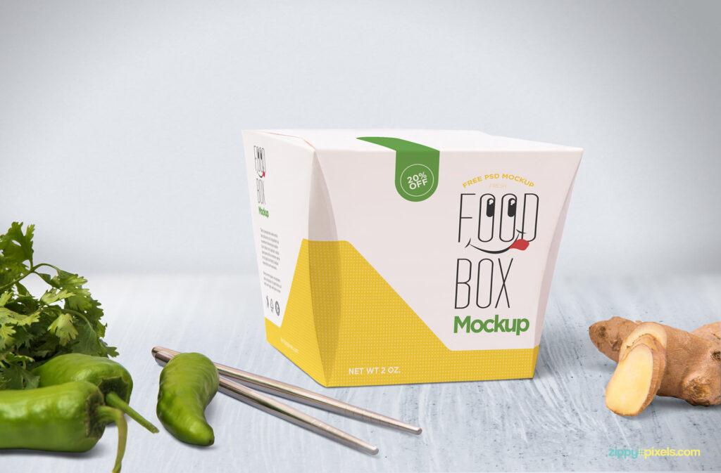 Free Realistic Modern Lunch Box Mockup PSD Template3