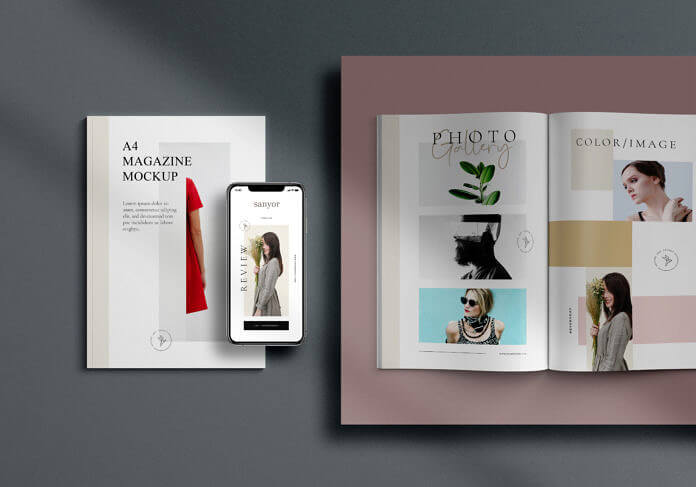 Free Simple A4 Magazine Mockup PSD Template1