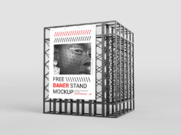 Free Simple Banner Stand Mockup PSD Template