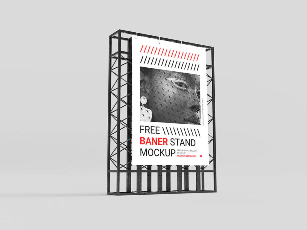Free Simple Banner Stand Mockup PSD Template2
