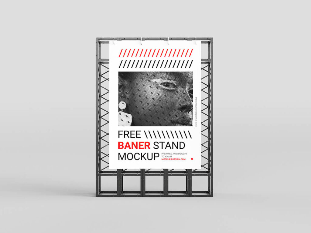 Free Simple Banner Stand Mockup PSD Template3