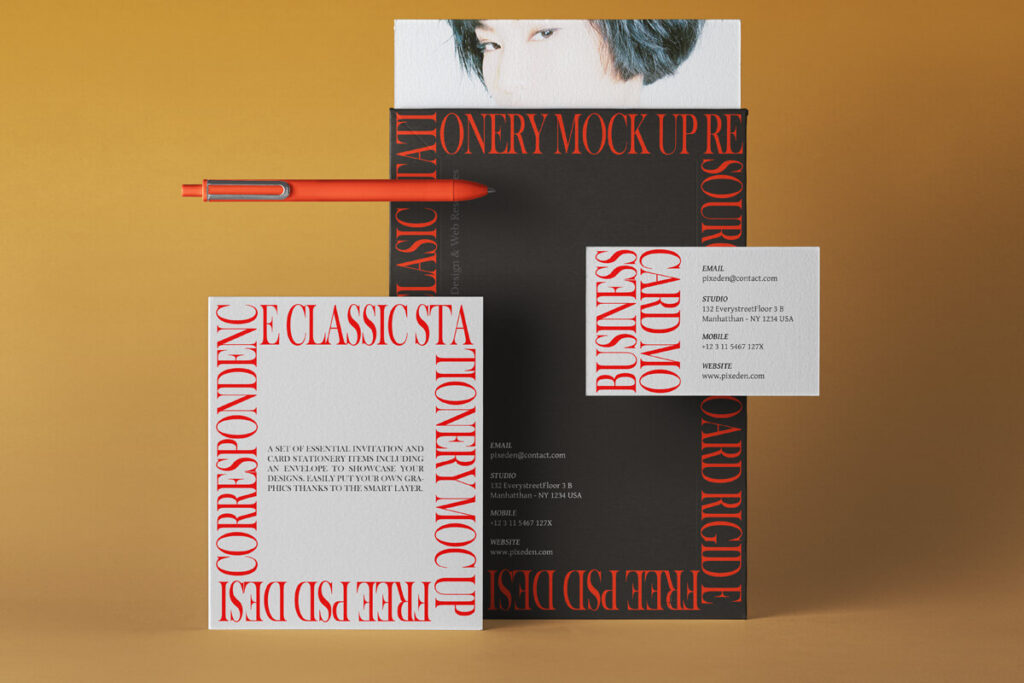 Free Simple Classic Mailing Mockup Set PSD Template1