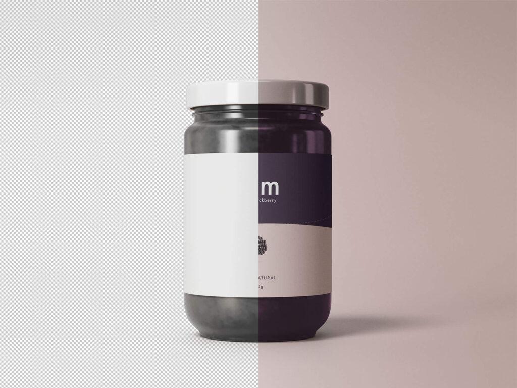 Free Simple Front Viewed Jam Jar Mockup PSD Template2