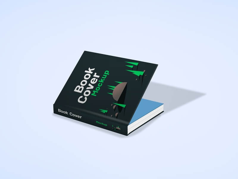 Free Slightly Open Book Cover Mockup PSD Template