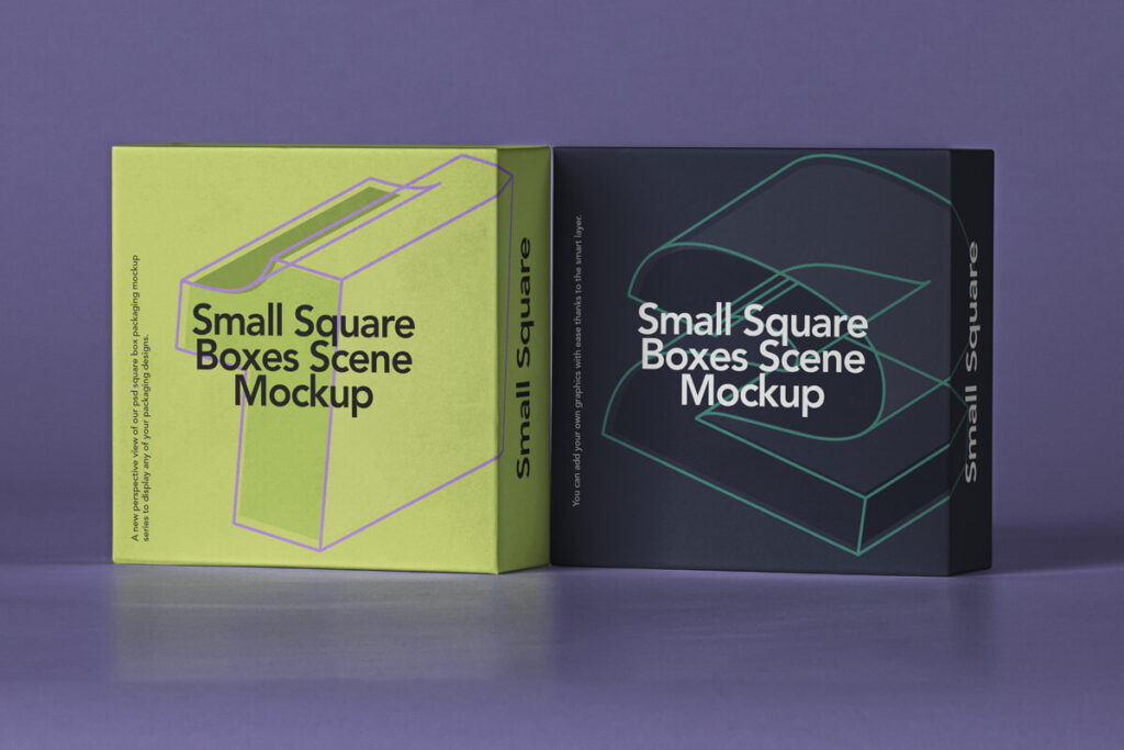 Free Small Square Box Mockup Set PSD Template1