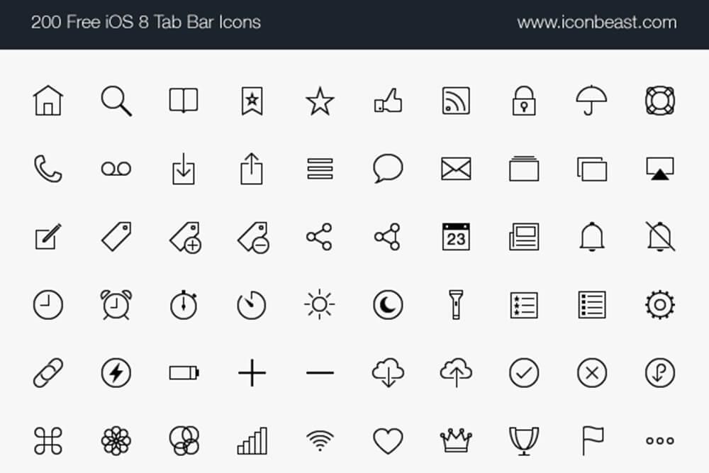Free Stunning 500 IOS Tab Bar Vector Icons