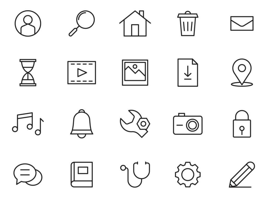 Free Unexpanded Strokey 20 Basic Vector Icons