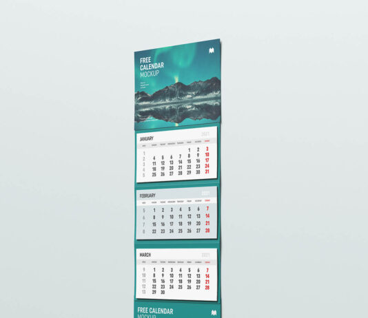 Free Useful Wall Calendar Mockup PSD Template1