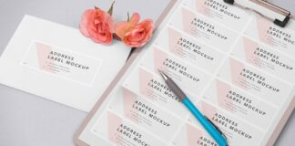 Free Wedding Address Label Mockup PSD Template1