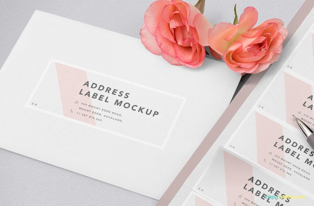 Free Wedding Address Label Mockup PSD Template4