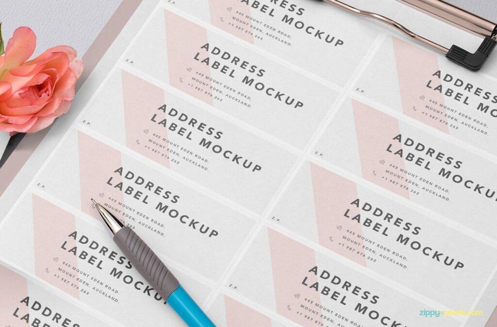 Free Wedding Address Label Mockup PSD Template5