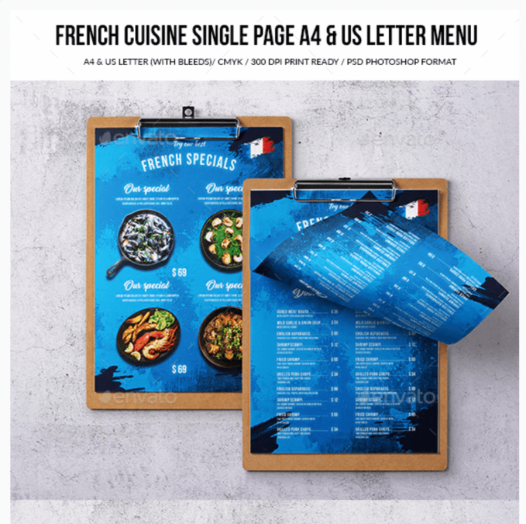 French Cuisine Single Page A4 & US Letter Food Menu