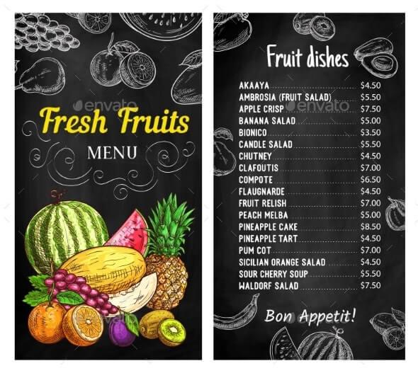 Fresh Fruits Chalkboard Menu Vector Template (1)