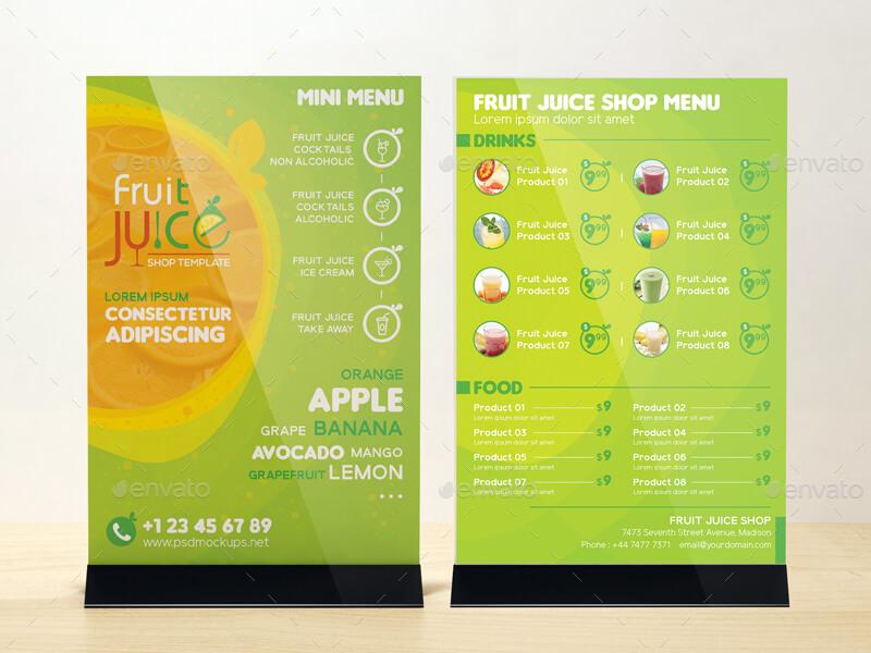 Fruit Juice Shop Take-out Brochure and Mini Menu Template