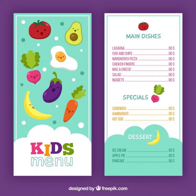 Fun kids menu Free Vector