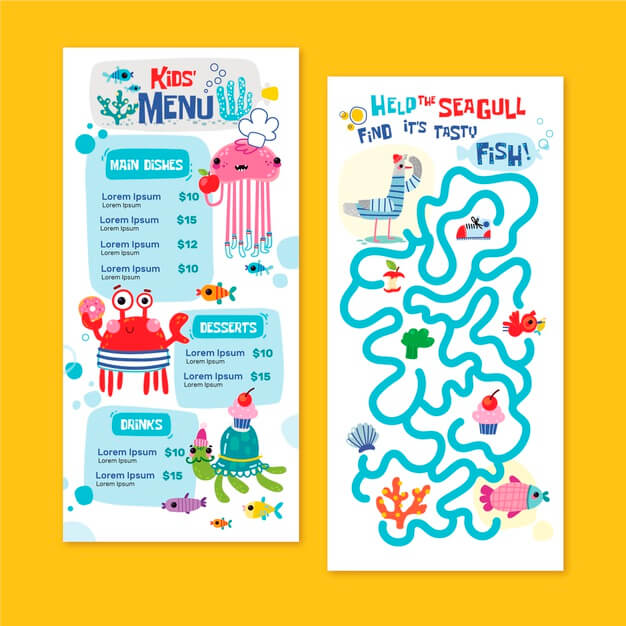 Hand drawn kids menu template Free Vector