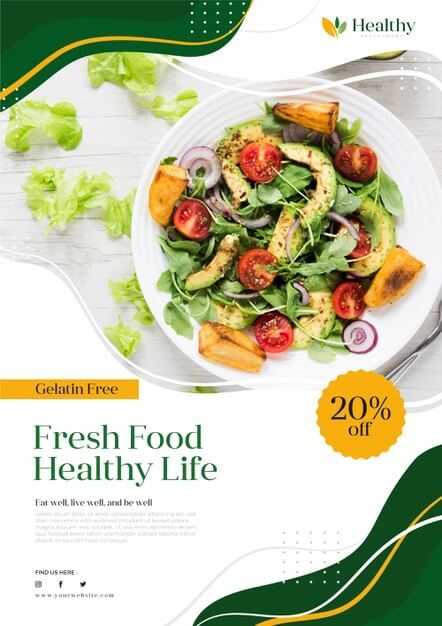 Healthy food restaurant poster template Free Vector (1)