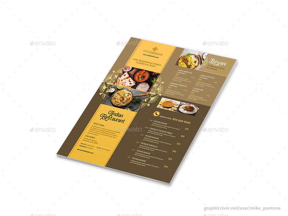 Indian Restaurant Menu Flyers 2 – 4 Options (1)