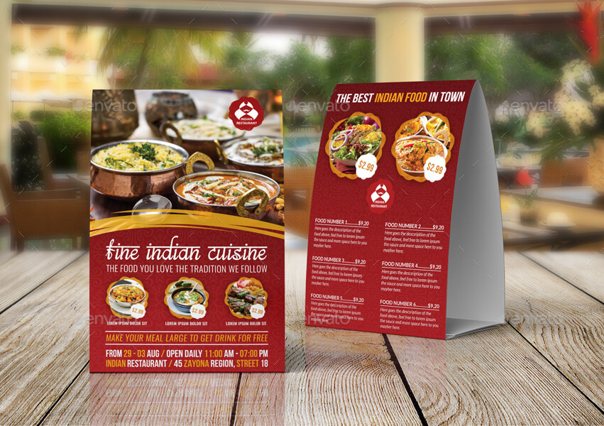 Indian Restaurant Table Tent Template Vol.2 (1)