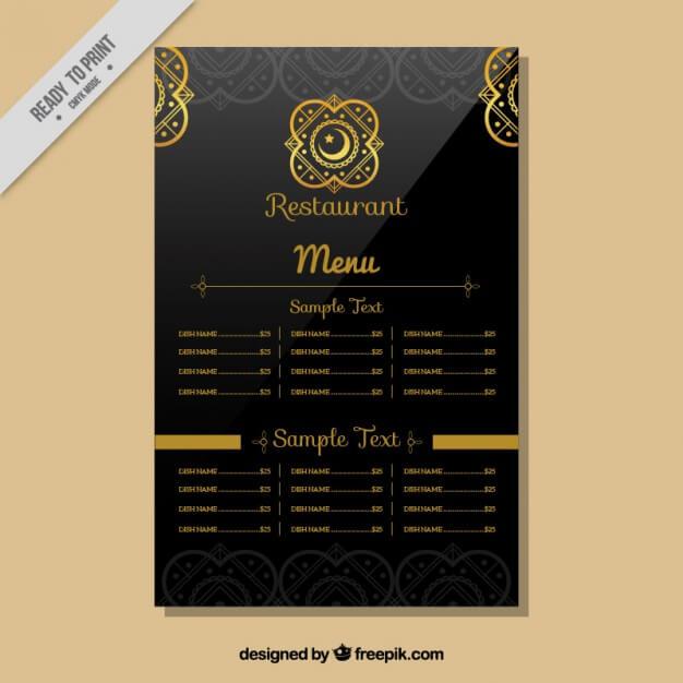 Indian restaurant menu template Free Vector (1)