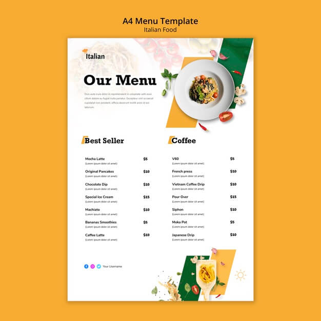 Italian food menu template design Free Psd (1)