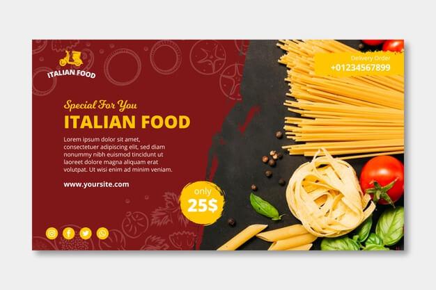 Italian food template banner Free Vector (1)