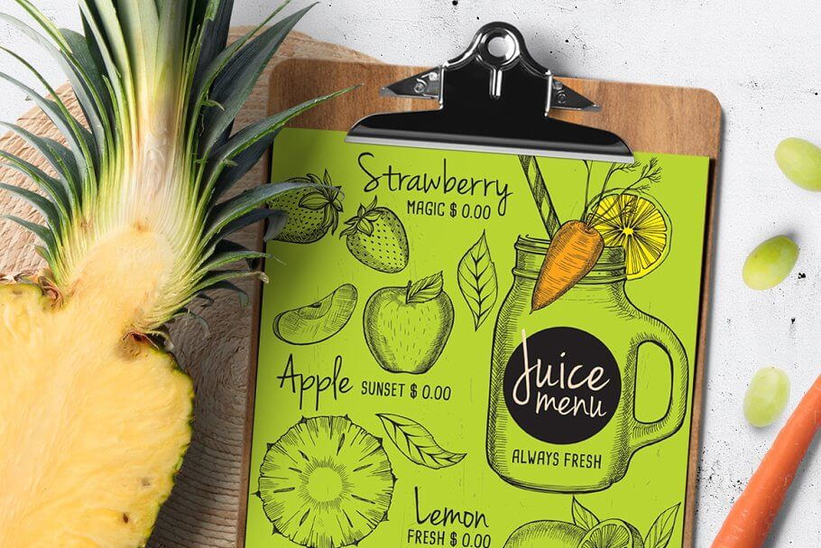 Juice Drink Menu