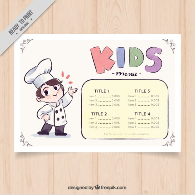 Kid's menu with decorative chef in watercolor style Free Vector