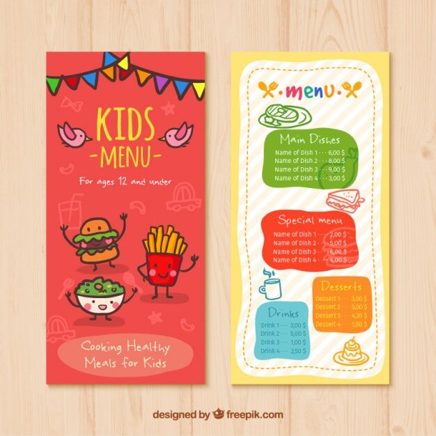 Kids menu with nice food drawings Premium Vector