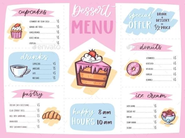 Menu Dessert Vector Cafe Design Sweet Food