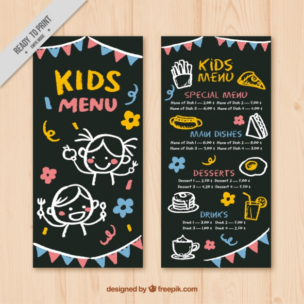 Menu for kids with garlands and yellow details Free Vector