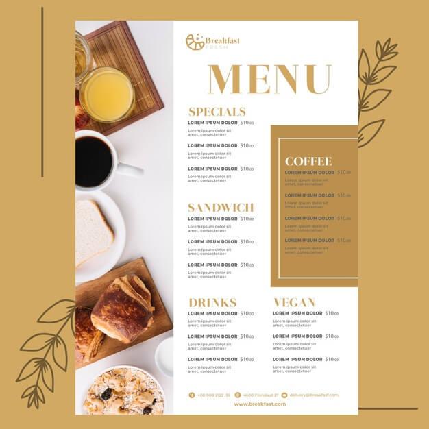 Menu template for breakfast restaurant Free Vector