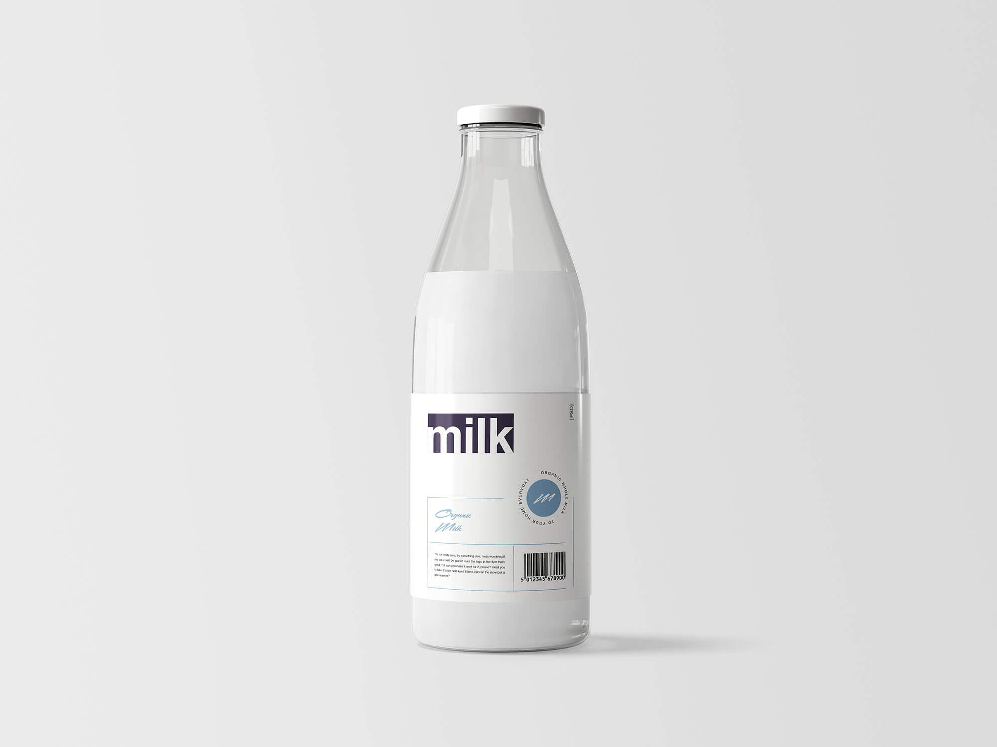 Free Modern And Clean Milk Bottle Mockup PSD Template