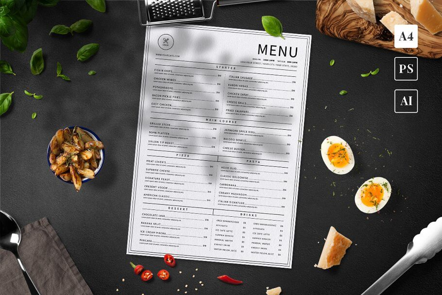Minimalist Food Menu